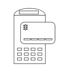 POS terminal and credit card icon outline style vector