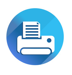 Printer icon - long shadow icon style is a flat vector
