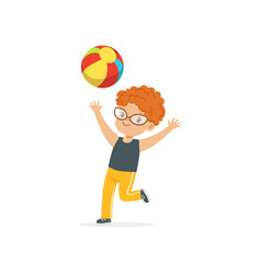 Red-haired little kid playing with colorful rubber vector