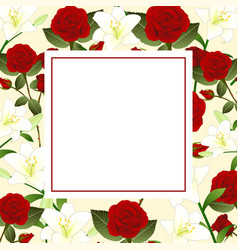 Red rose and white lily flower christmas beige vector