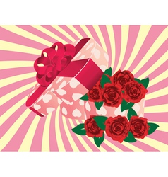 Roses in heart shaped box2 vector image