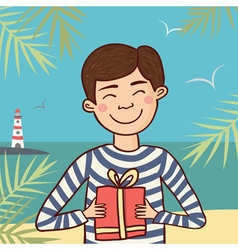 sailor with gift vector image vector image