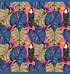 seamless pattern with tropical branches leaves vector image