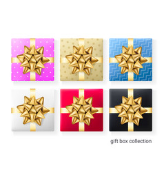 set 6 colorful gift boxes decorative presents vector image