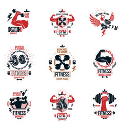Set cross fit and fitness theme emblems and vector