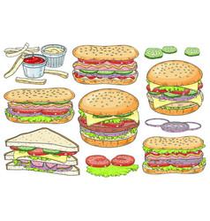 set fast food hamburger hot dog and vector image