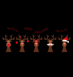 set funny christmas reindeer happy new year 2021 vector image