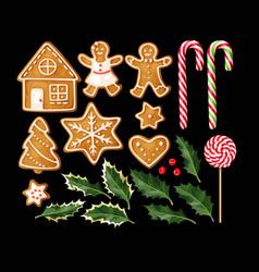 Set gingerbread cookies vector