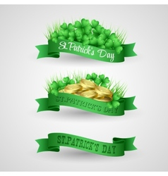 set saint patrick day banner with clover and vector image