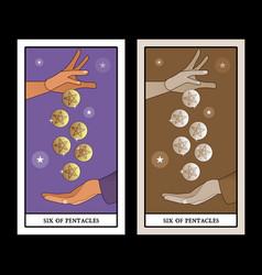 Six pentacles tarot cards a generous hand vector