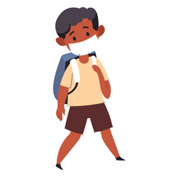 Small kid wearing medical mask going to school vector