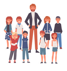 smiling male teacher standing with group of vector image