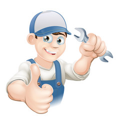 Thumbs up plumber or mechanic vector