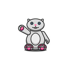 Toy fat cat cute cartoon character sits vector