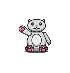 Toy fat cat cute cartoon character sits with a vector