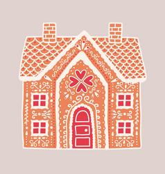 traditional gingerbread house isolated on light vector image