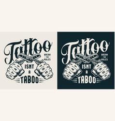 vintage tattoo studio label vector image