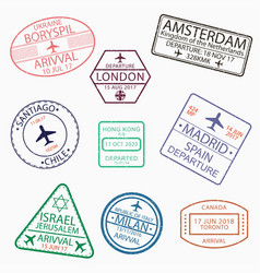 visa passport stamps for travel vector image