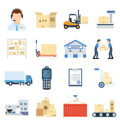 warehouse icon flat cartoon set vector image