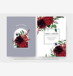 Wedding invite cards set burgundy dahlia flowers vector