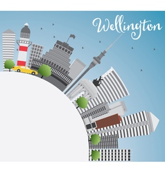 Wellington skyline with grey buildings vector