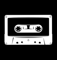 White silhouette of audio cassette on black vector