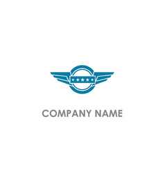 wing emblem star company logo vector image