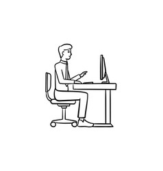 working person hand drawn sketch icon vector image