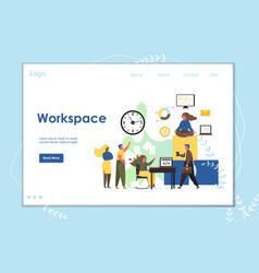 workspace website landing page design vector image