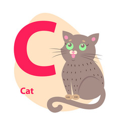Zoo abc letter with cute cat cartoon vector