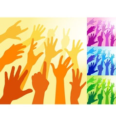 a collection of hands and raised arms shapes vector image vector image