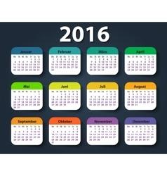 Calendar 2016 year German Week starting on Monday vector image