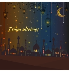 Greeting card with silhouette of a mosque and vector image