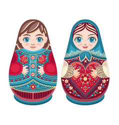 Matryoshka babushka doll set vector