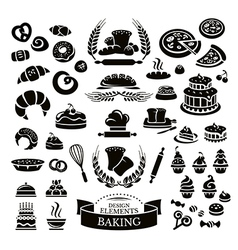 Set of bakery design elements and icons vector image vector image