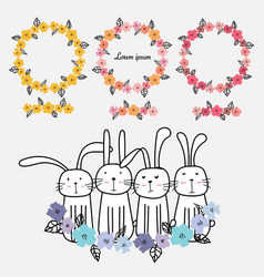set of floral frames and cute bunny vector image