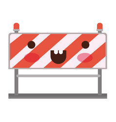 traffic barrier flat icon colorful kawaii vector image