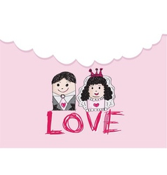 Cartoon hand drawn wedding couple wedding idea des vector image