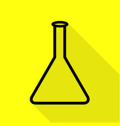 conical flask sign black icon with flat style vector image