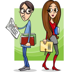 students couple in love cartoon vector image