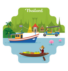 thailand travel and attraction landmarks vector image