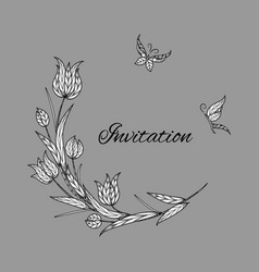 tulip invitation with butterfly vector image vector image