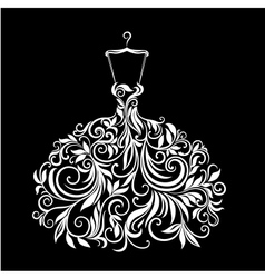 White dress with floral ornament vector image