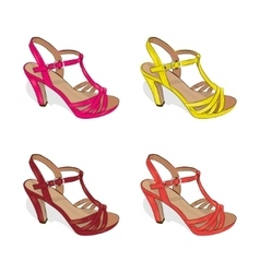 A set of colorful female summer shoes on a white vector