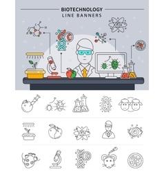Biotechnology Line Banner Set vector image vector image
