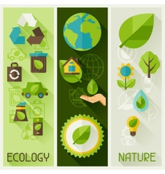Ecology banners with environment icons vector image vector image
