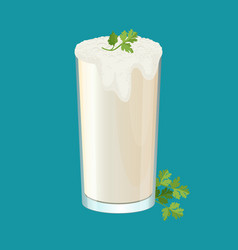 glass of ayran with dill and parsley herbs vector image vector image