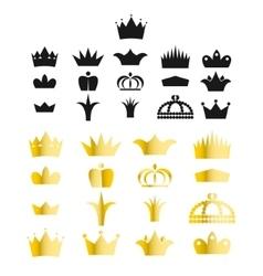 Gold crown clip art set vector image vector image