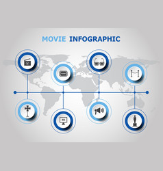 Infographic design with movie icons vector
