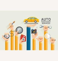 Auto Maintenance Services icons vector image